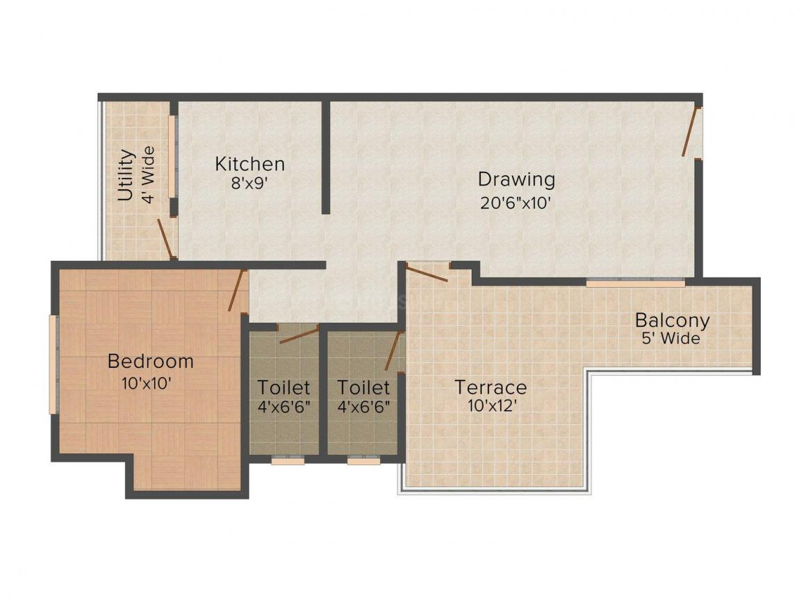 Floor Plan Image of 1050 - 1500 Sq.ft 1 BHK Apartment for buy in Rajvaibhav Galaxy