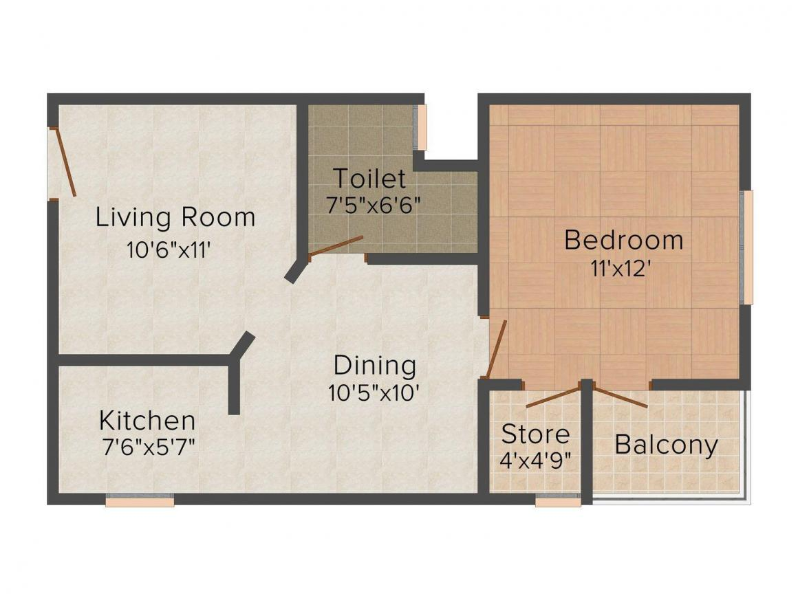 Floor Plan Image of 650 - 1350 Sq.ft 1 BHK Apartment for buy in Aftek Greens