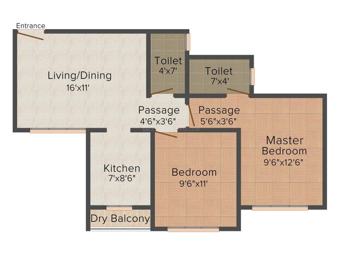Floor Plan Image of 665 - 1050 Sq.ft 1 BHK Apartment for buy in Viva Heights