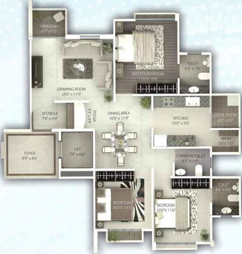 Shreem Gini Lake Gardenz Floor Plan: 3 BHK Unit with Built up area of 1663 sq.ft 1