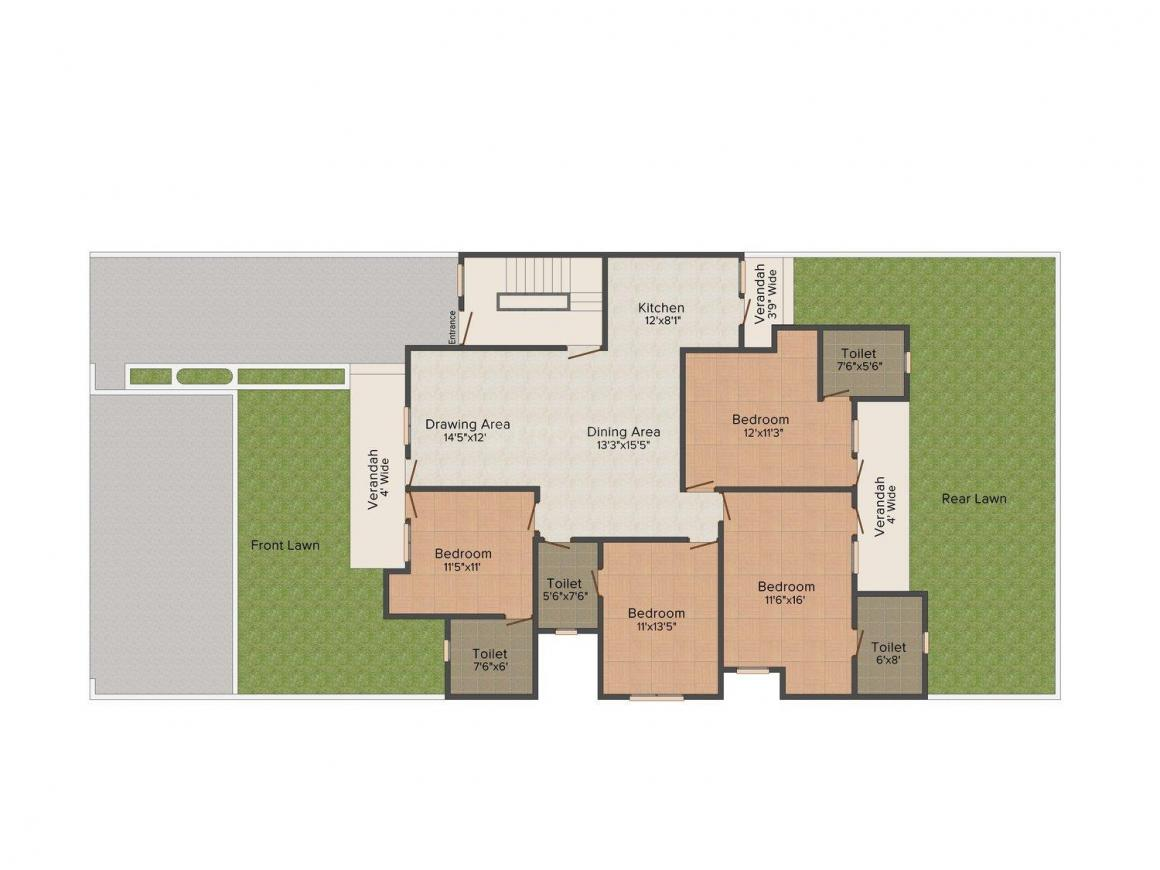 Gajraj Homes - 2 Floor Plan: 4 BHK Unit with Built up area of 2075 sq.ft 1