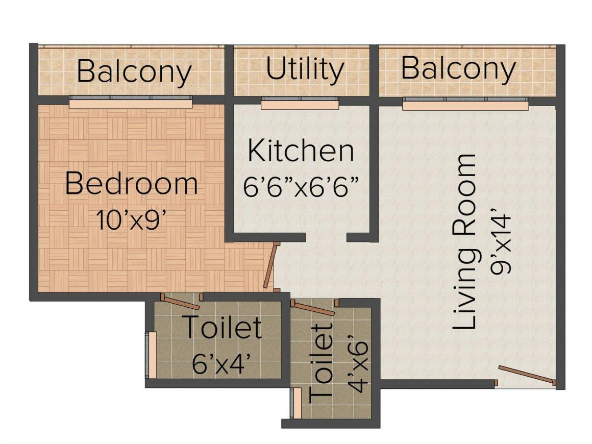 Floor Plan Image of 575.0 - 1080.0 Sq.ft 1 BHK Apartment for buy in Space Space Galaxy