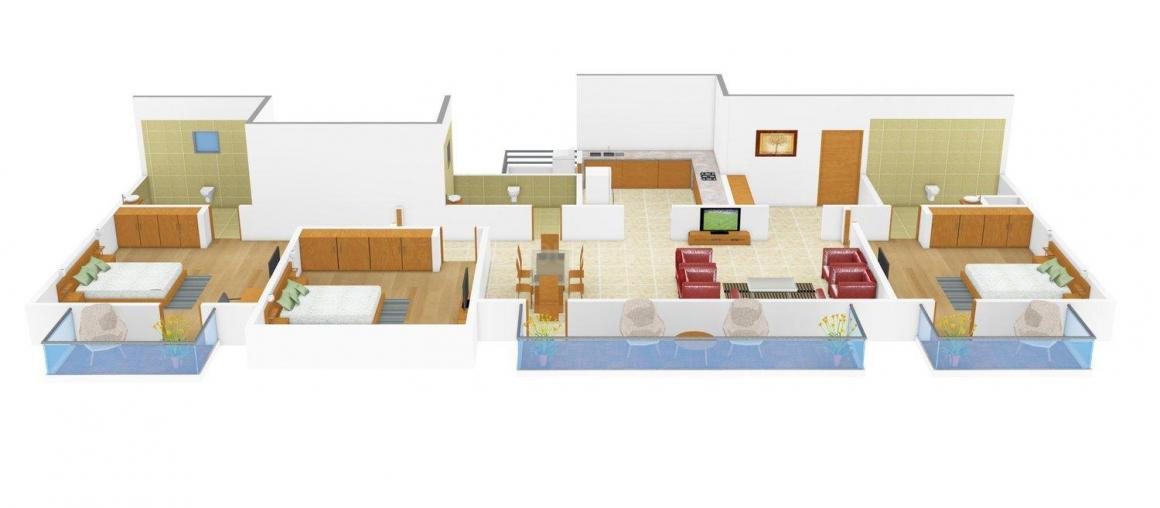 Floor Plan Image of 1636.0 - 3150.0 Sq.ft 3 BHK Apartment for buy in ATS One Hamlet