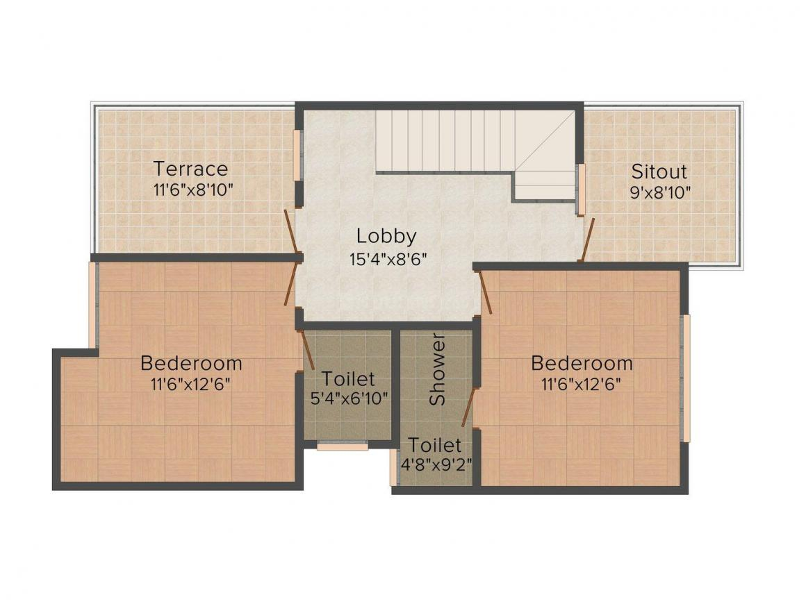 Floor Plan Image of 1331 - 1547 Sq.ft 3 BHK Duplex for buy in Crystal Ideal City Phase 2