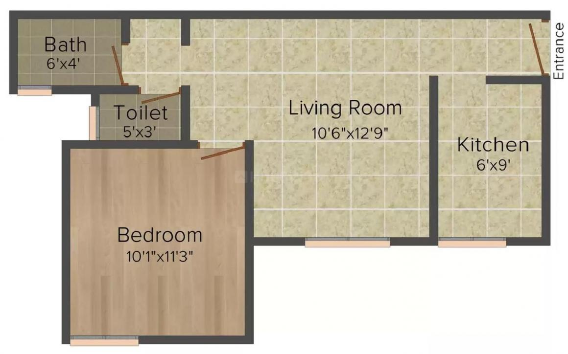 North Town Ekanta Floor Plan: 1 BHK Unit with Built up area of 650 sq.ft 1
