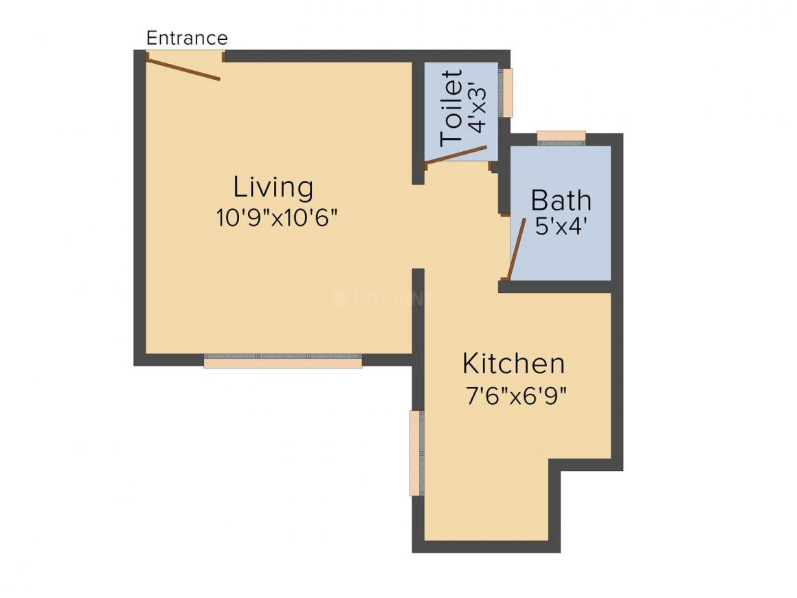 Floor Plan Image of 355.0 - 620.0 Sq.ft 1 RK Apartment for buy in Shree Samarth Golden Royal