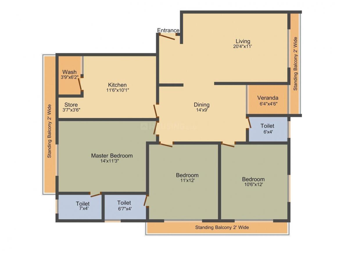 Suvidha Shantam Residency Floor Plan: 3 BHK Unit with Built up area of 1845 sq.ft 1