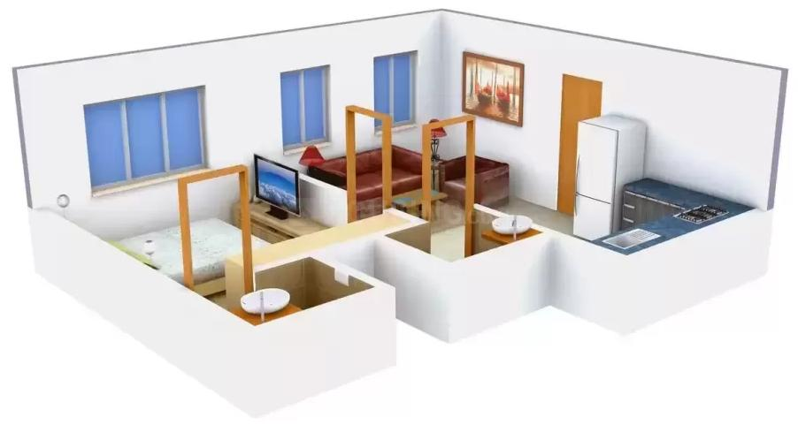 Landmark Bombayone Floor Plan: 1 BHK Unit with Built up area of 710 sq.ft 1