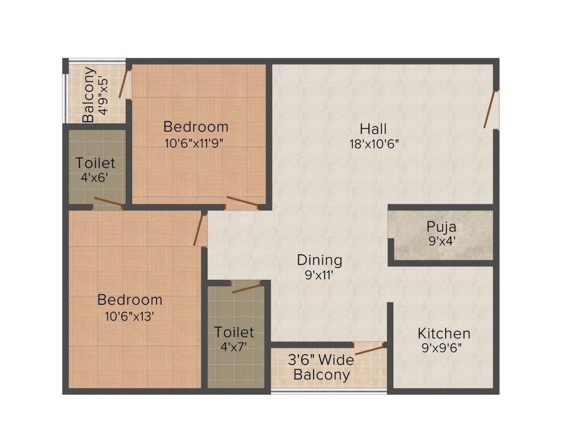 Floor Plan Image of 1105.0 - 1145.0 Sq.ft 2 BHK Apartment for buy in Sree Venkata Sai SVS Constructions