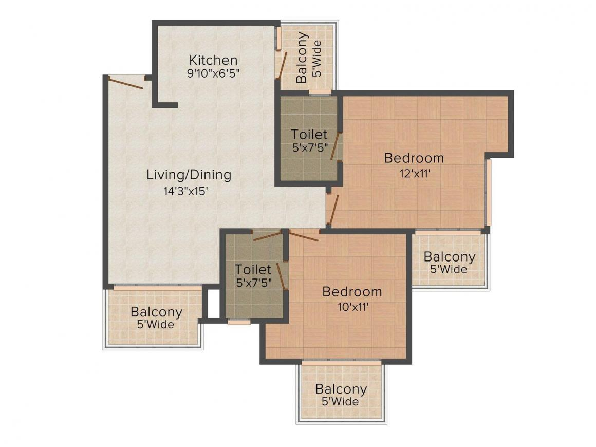 Floor Plan Image of 0 - 750.0 Sq.ft 2 BHK Apartment for buy in Ahura Anandi Heights