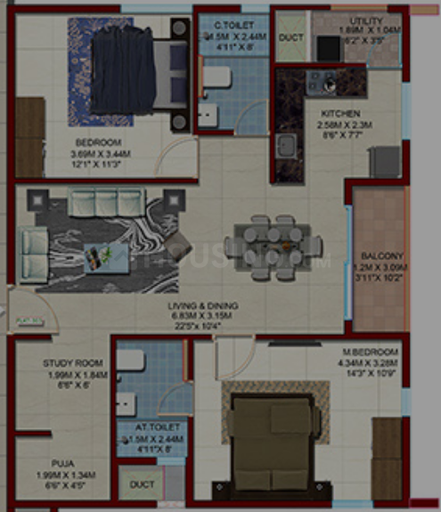 Candeur 40 Floor Plan: 2 BHK Unit with Built up area of 1170 sq.ft 1