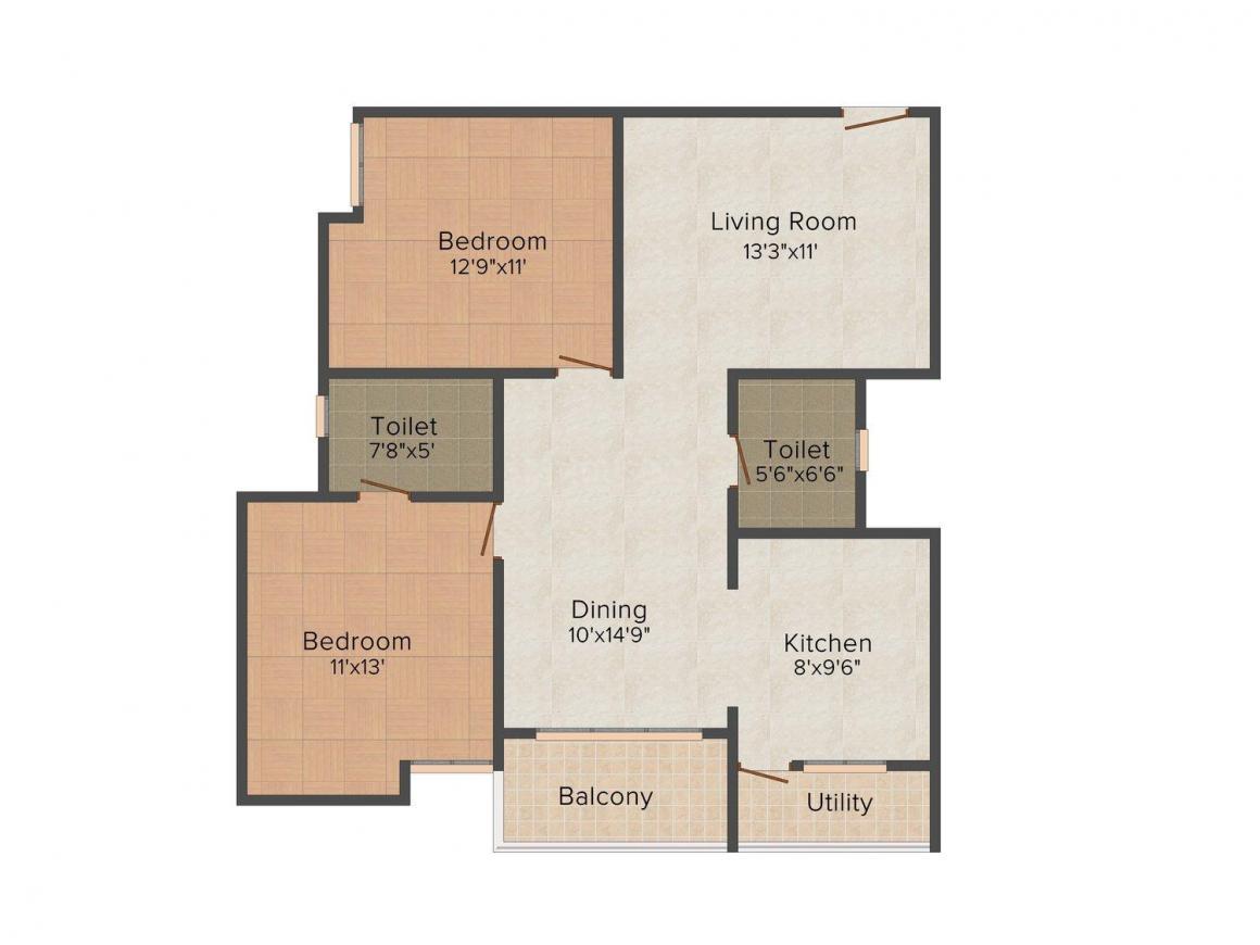 Floor Plan Image of 888.0 - 1480.0 Sq.ft 2 BHK Apartment for buy in SR Kens Residency