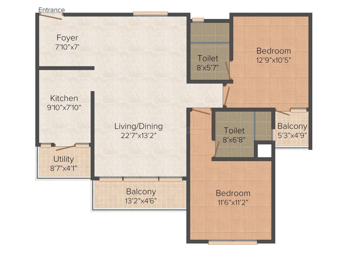 Floor Plan Image of 0 - 1359.0 Sq.ft 2 BHK Apartment for buy in CMRS Mahavatar Heights