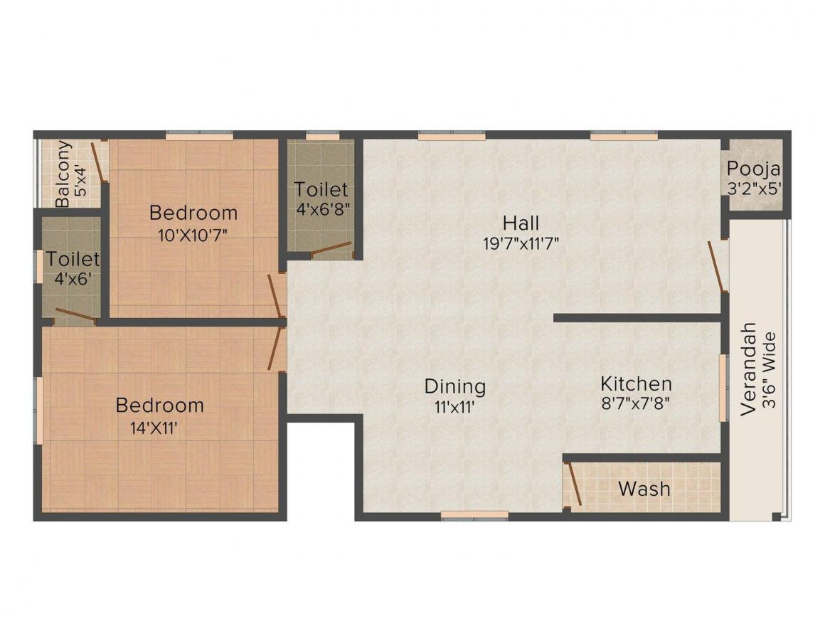 Floor Plan Image of 1245.0 - 1440.0 Sq.ft 2 BHK Apartment for buy in Rohini Castle