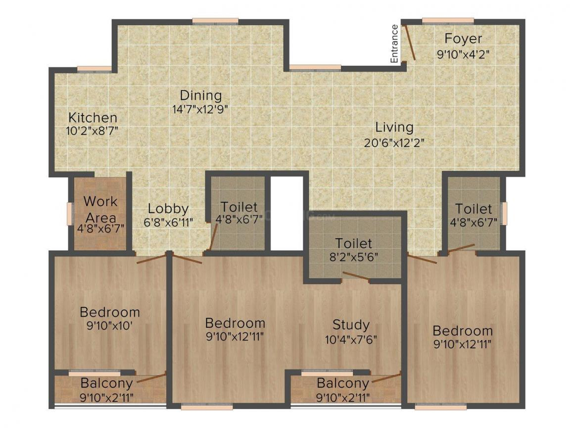 Floor Plan Image of 796 - 1814 Sq.ft 2 BHK Apartment for buy in CoEvolve Placid