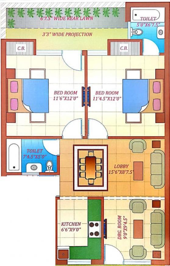 Hare Krishna Developer Krishna Home 9 Floor Plan: 2 BHK Unit with Built up area of 1080 sq.ft 1