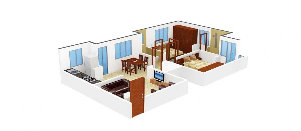 Floor Plan Image of 1100 - 1450 Sq.ft 2 BHK Apartment for buy in Bharani Ashish Meadows