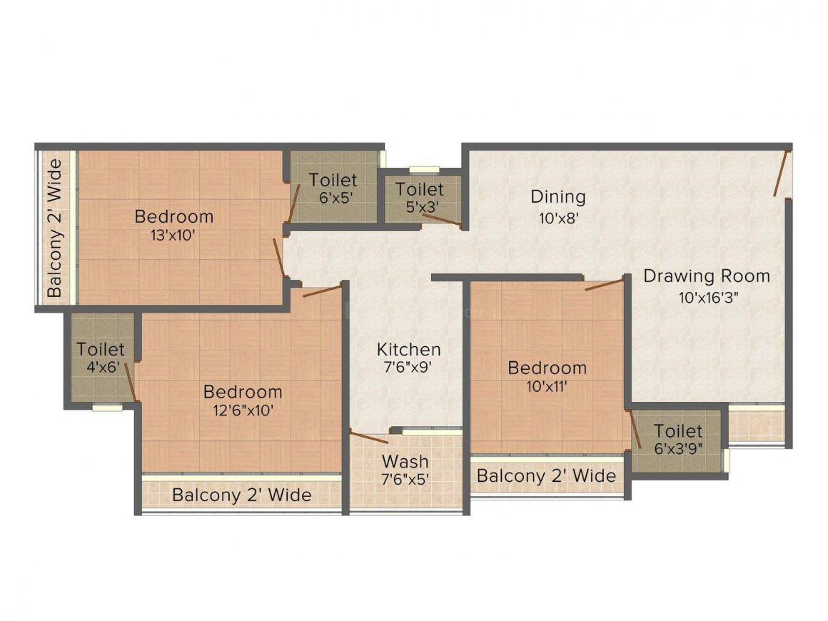 Nillaya Floor Plan: 3 BHK Unit with Built up area of 1548 sq.ft 1