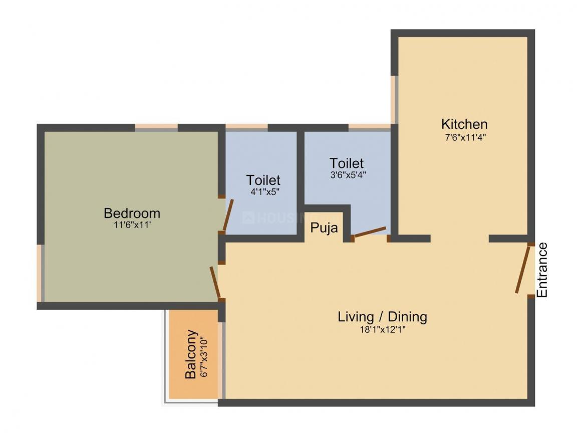 Arun Excello Temple Green Integrated Residential Township Floor Plan: 1 BHK Unit with Built up area of 695 sq.ft 1
