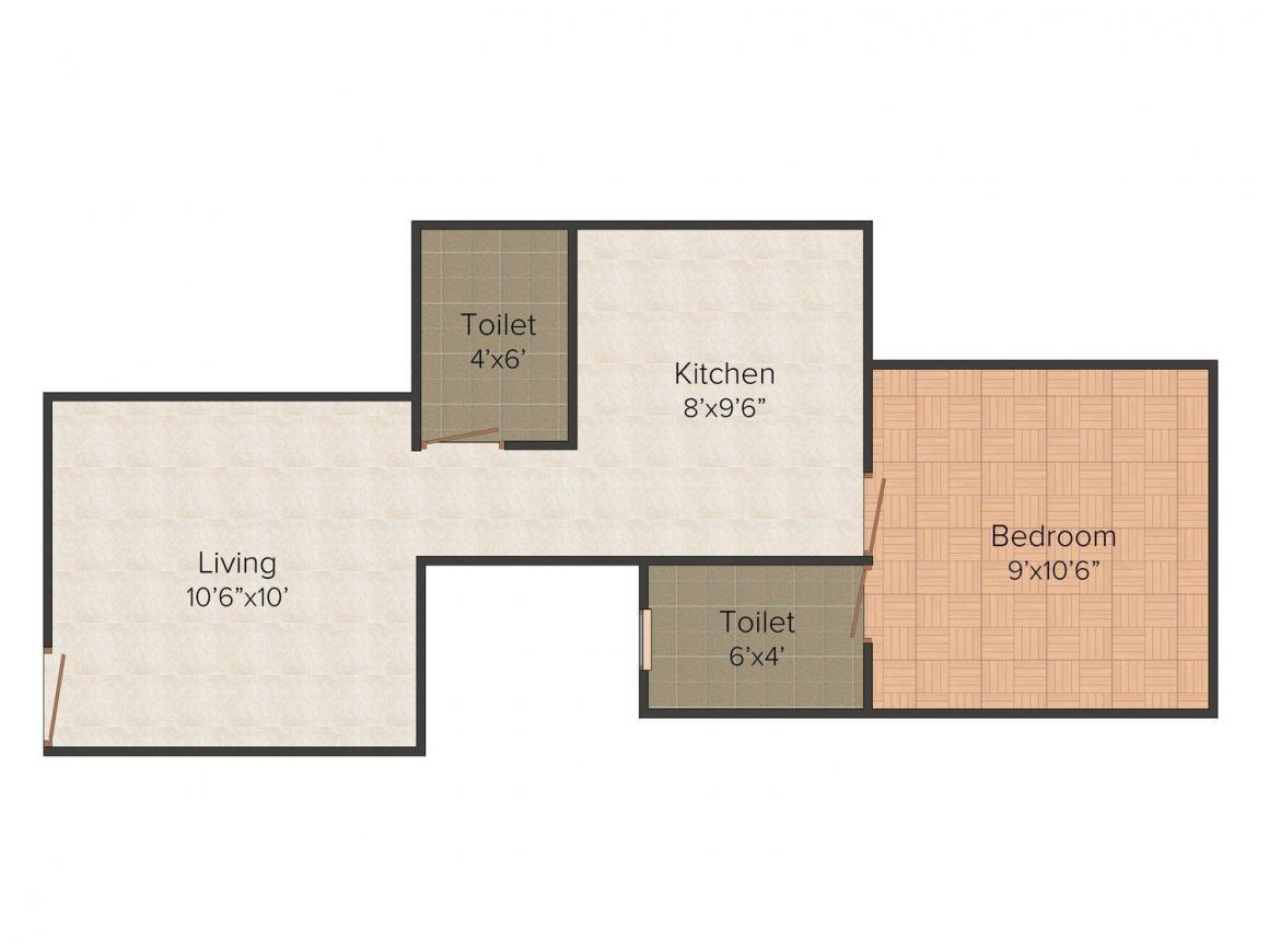 Floor Plan Image of 505.0 - 965.0 Sq.ft 1 BHK Apartment for buy in Gujrat Annapurna Jewel