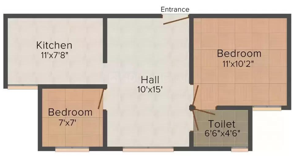 K Nachani and Allons Ganesh Sopan Floor Plan: 2 BHK Unit with Built up area of 1053 sq.ft 1