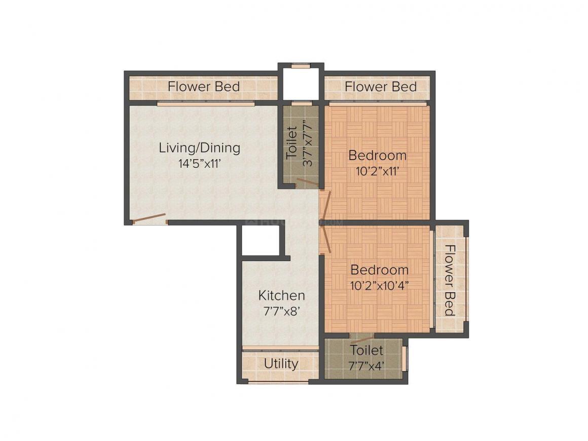 Floor Plan Image of 1000 - 1635 Sq.ft 2 BHK Apartment for buy in Vardhman Vista
