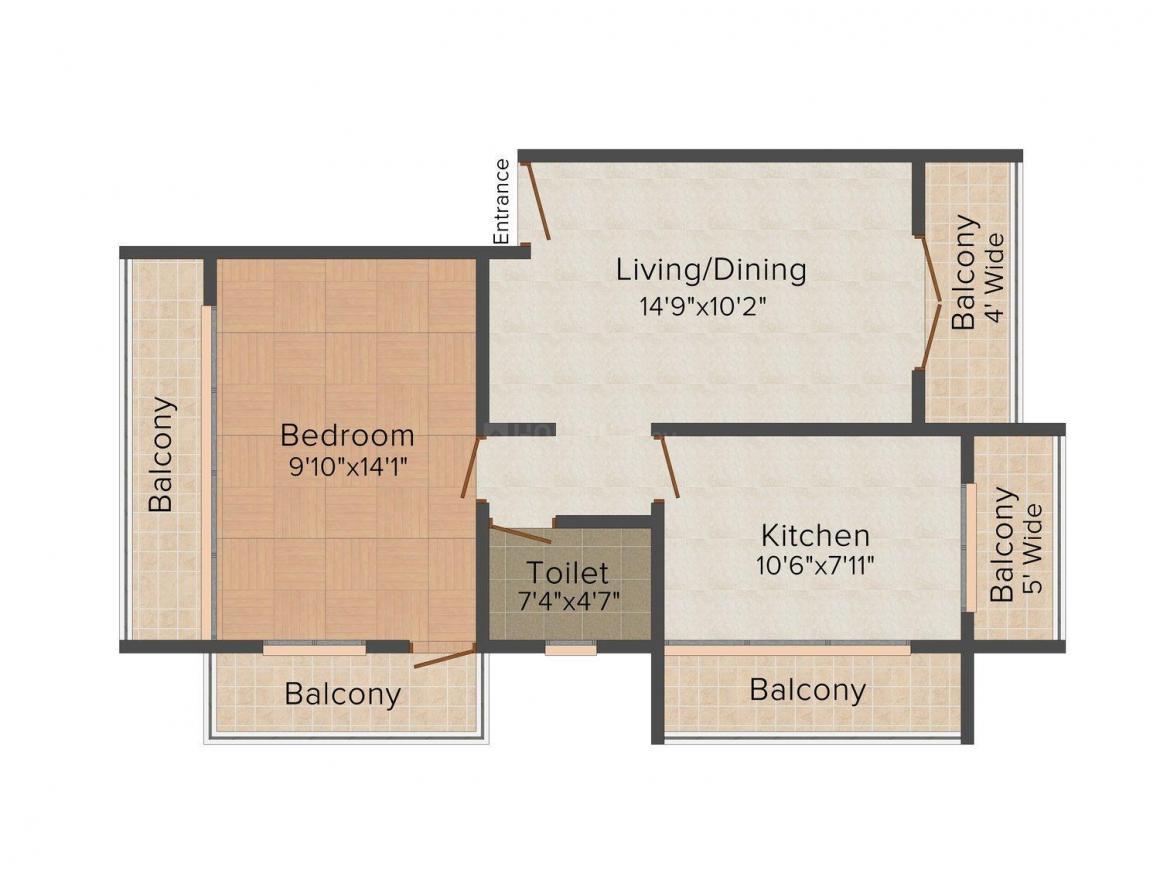 Floor Plan Image of 0 - 862 Sq.ft 1 BHK Apartment for buy in S.S. Kakodkar Viva Hills