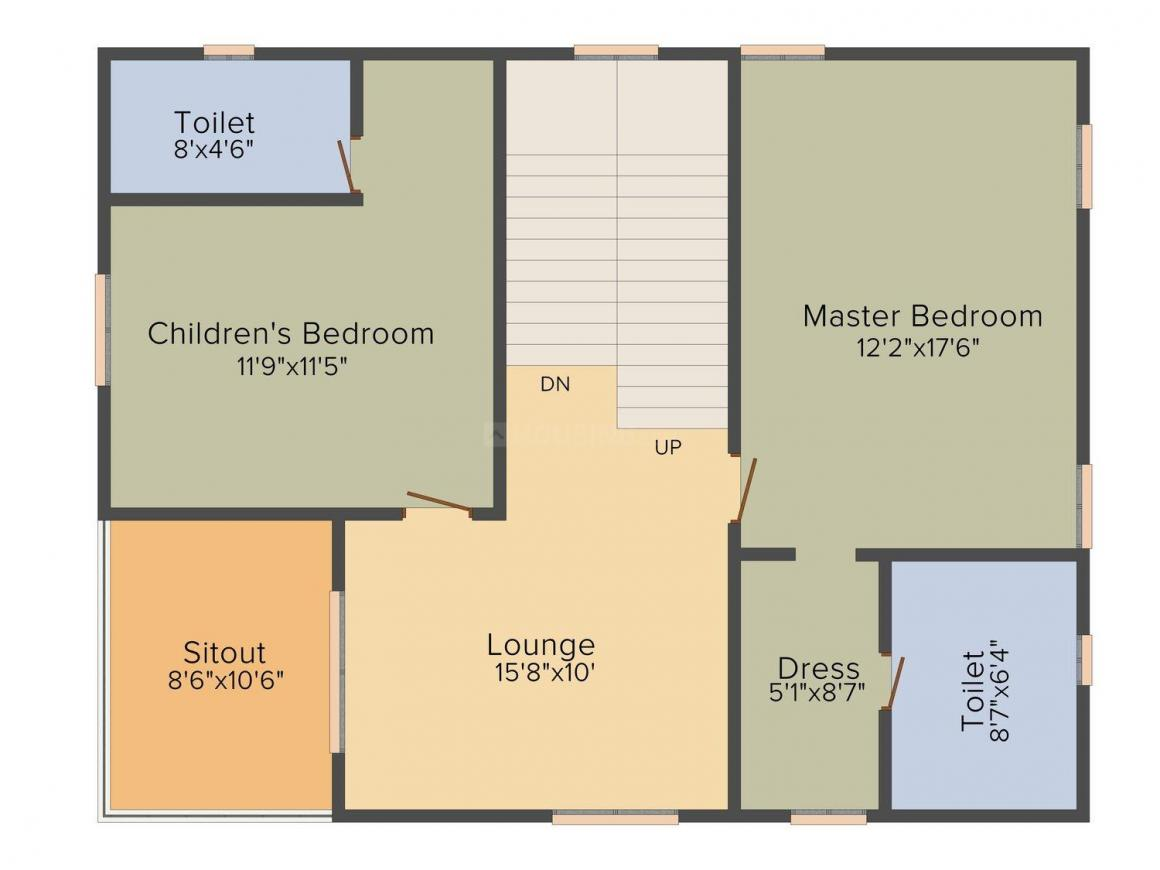 Suryodaya Green Space Floor Plan: 3 BHK Unit with Built up area of 2167 sq.ft 2