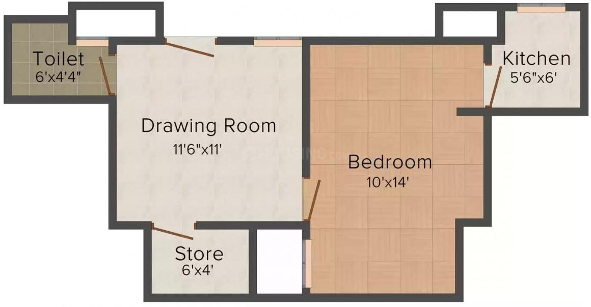 Bhumi Homes 2 Floor Plan: 1 BHK Unit with Built up area of 495 sq.ft 1