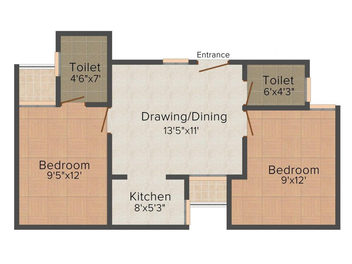 Mayur County Floor Plan: 2 BHK Unit with Built up area of 800 sq.ft 1