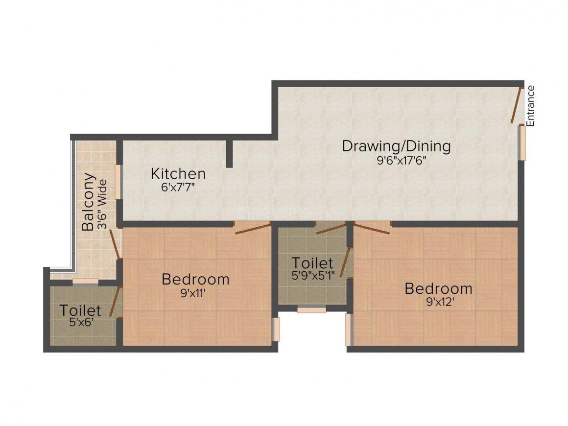 Floor Plan Image of 0 - 1200 Sq.ft 2 BHK Independent Floor for buy in Inplan Techno Creative Home-4