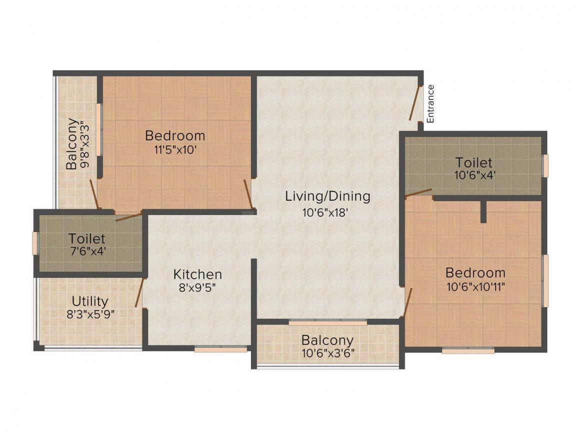 Chenthur PTC Colony Floor Plan: 2 BHK Unit with Built up area of 934 sq.ft 1