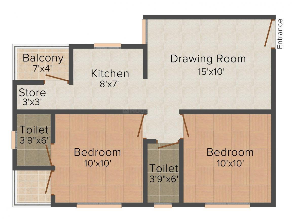 Shyam Tirth Floor Plan: 2 BHK Unit with Built up area of 936 sq.ft 1