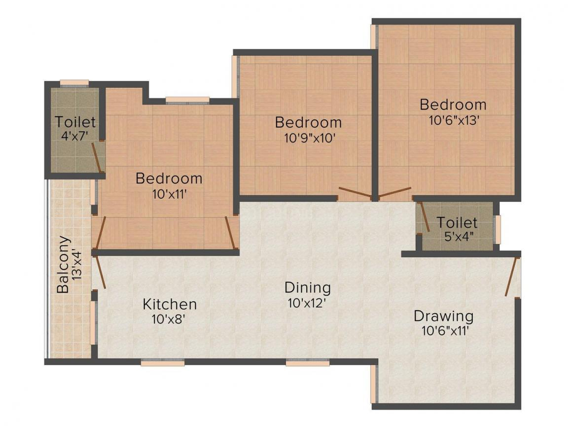 Floor Plan Image of 0 - 1150 Sq.ft 3 BHK Apartment for buy in BM Coral Casa