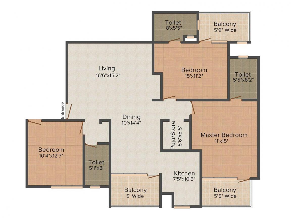 Om Shaudh Floor Plan: 3 BHK Unit with Built up area of 1350 sq.ft 1