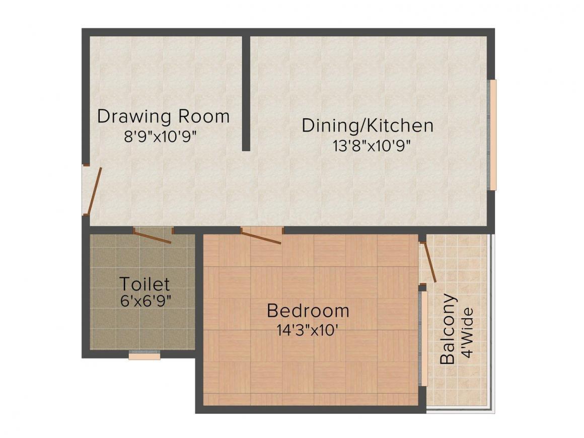 Floor Plan Image of 500.0 - 1482.0 Sq.ft 1 BHK Apartment for buy in Okay Plus Hare Krishna Homes