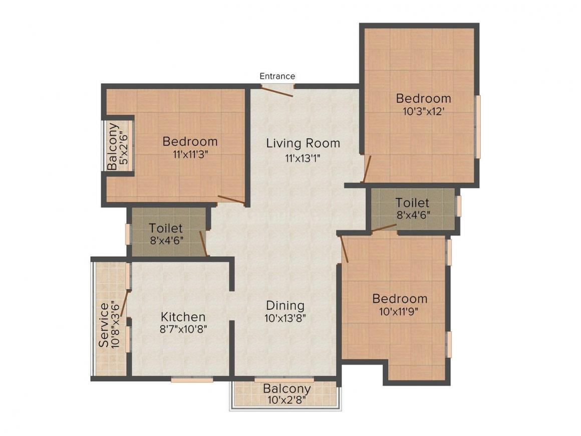 Seshadri Floor Plan: 3 BHK Unit with Built up area of 1352 sq.ft 1