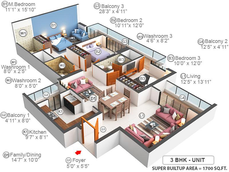 Prateek Canary Floor Plan: 3 BHK Unit with Built up area of 1700 sq.ft 1