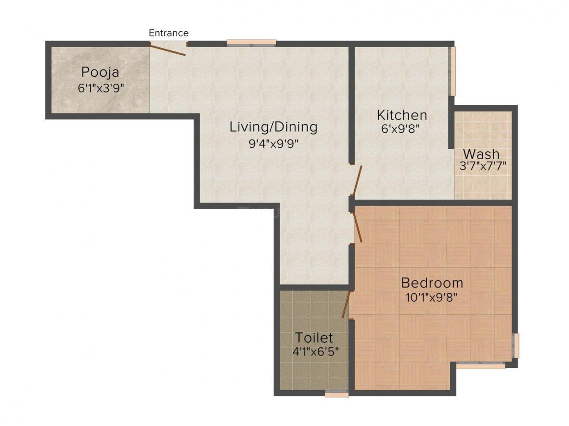 Floor Plan Image of 613.0 - 1357.0 Sq.ft 1 BHK Apartment for buy in Kalpaka Regency
