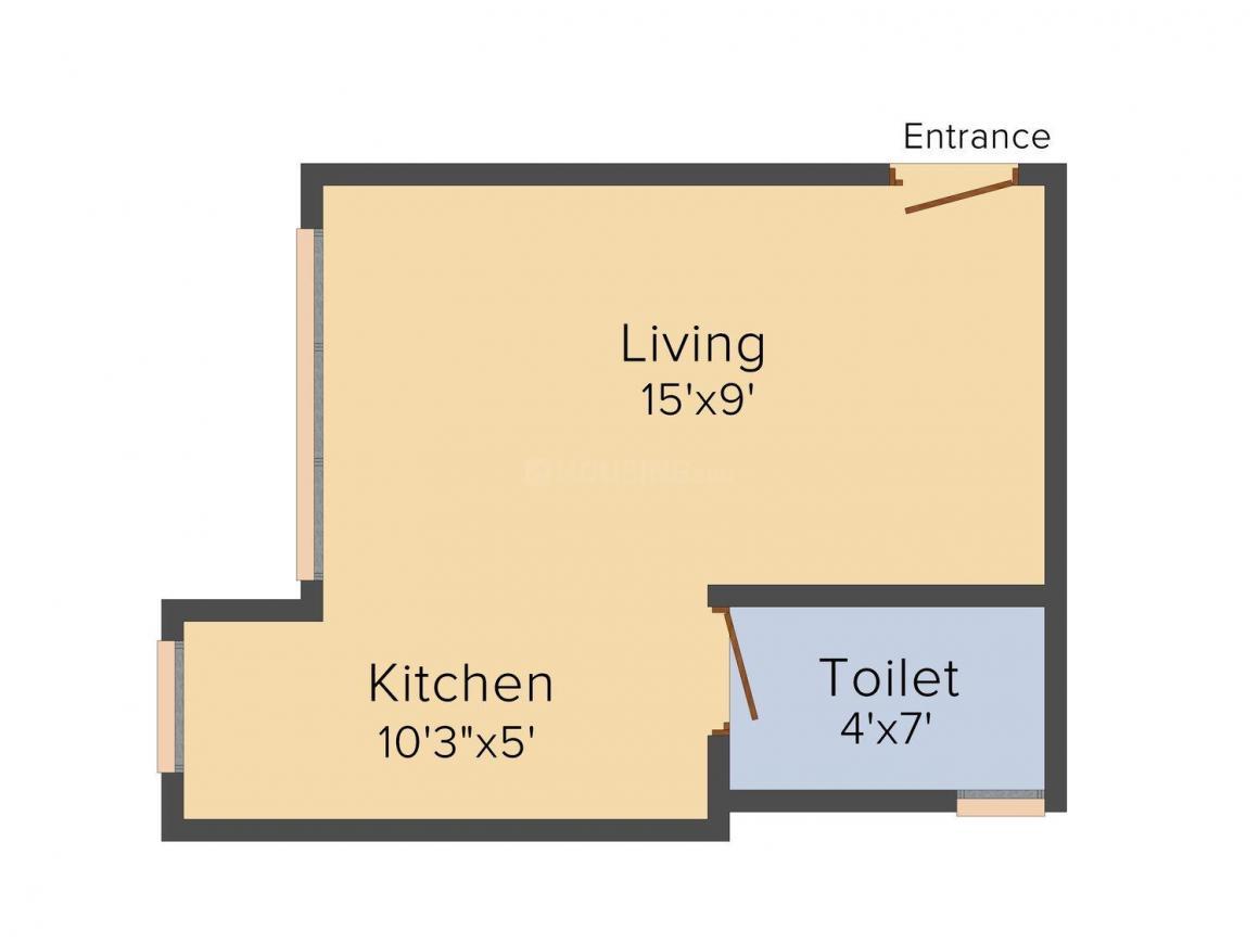 Aditya Aditi Apartment Floor Plan: 1 BHK Unit with Built up area of 480 sq.ft 1