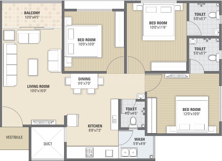 Parshwa RJ Prime Floor Plan: 3 BHK Unit with Built up area of 1485 sq.ft 1