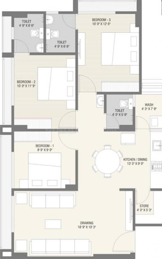 Neel Shree Hari Dreamland Floor Plan: 3 BHK Unit with Built up area of 783 sq.ft 1