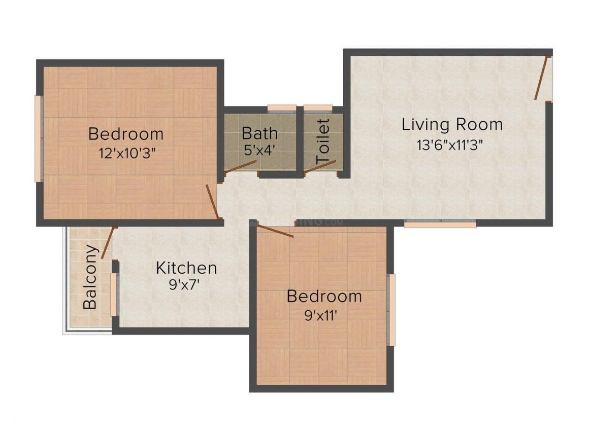 Floor Plan Image of 826 - 1460 Sq.ft 2 BHK Apartment for buy in Vidarbha Hingna Town