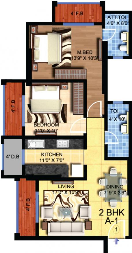Hubtown Hillcrest Floor Plan: 2 BHK Unit with Built up area of 698 sq.ft 1