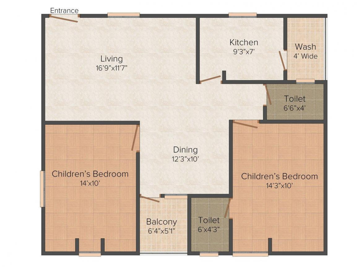 Floor Plan Image of 1080.0 - 1100.0 Sq.ft 2 BHK Apartment for buy in Sprint