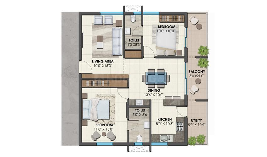 Floor Plan Image of 1040.01 - 1684.98 Sq.ft 2 BHK Apartment for buy in Bonsai Arbour