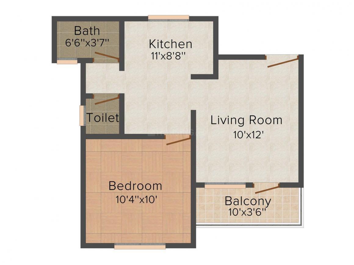 Floor Plan Image of 402.0 - 572.0 Sq.ft 1 BHK Apartment for buy in Gokul - 1