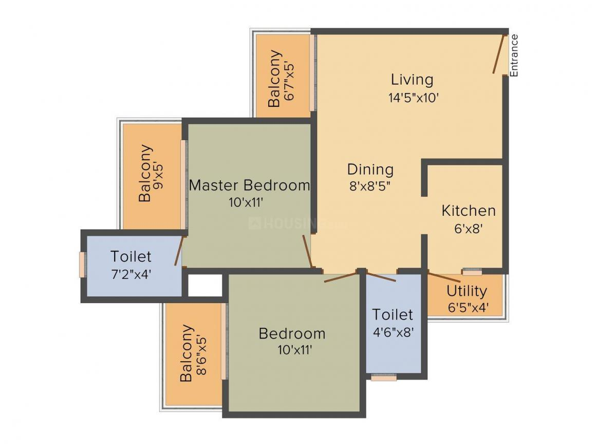 Floor Plan Image of 960.0 - 1240.0 Sq.ft 2 BHK Apartment for buy in Mahagun Mywoods Phase 3