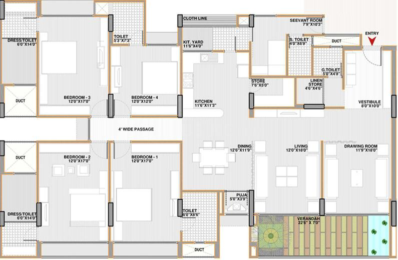 Apollo Phase Cressida I At Apollo DB City Floor Plan: 4 BHK Unit with Built up area of 2091 sq.ft 1