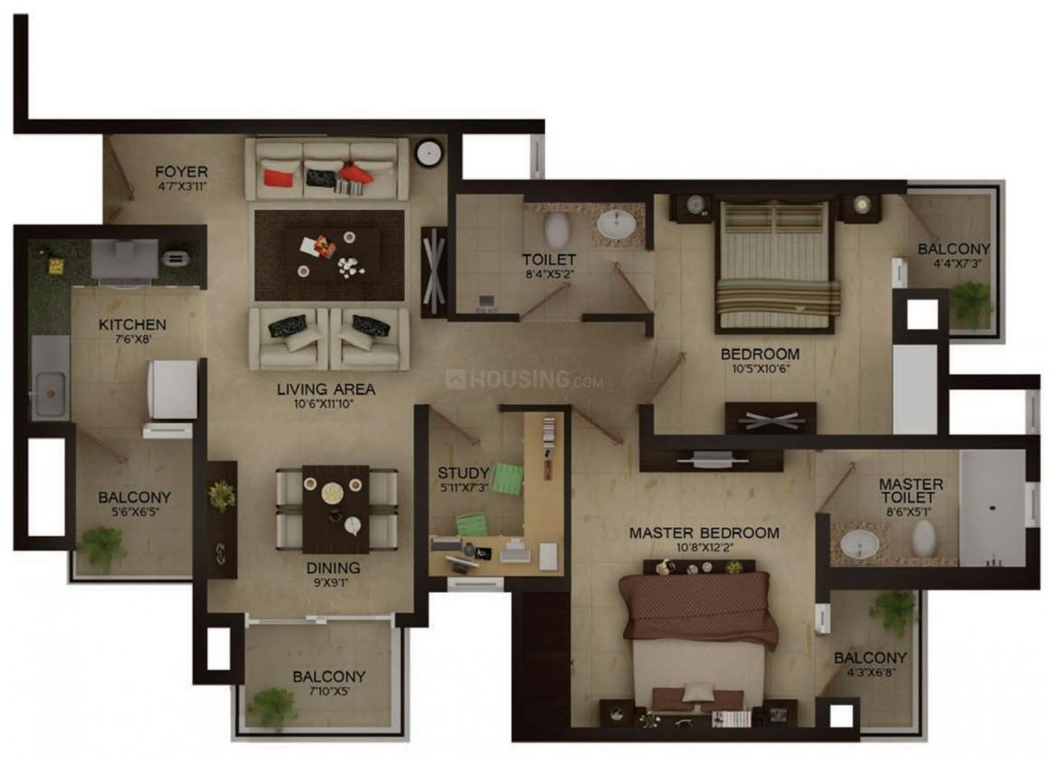 Wave Vasilia Floor Plan: 2 BHK Unit with Built up area of 757 sq.ft 1